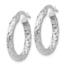 Load image into Gallery viewer, 14k White Gold 2.5mm Textured Round Hoop Earrings
