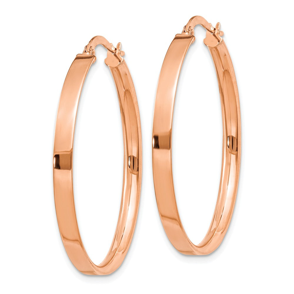 14K Plated Rose Rhodium Hoop Earrings