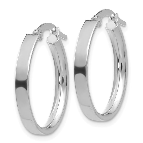 14K White Rhodium Oval Hoop Earrings