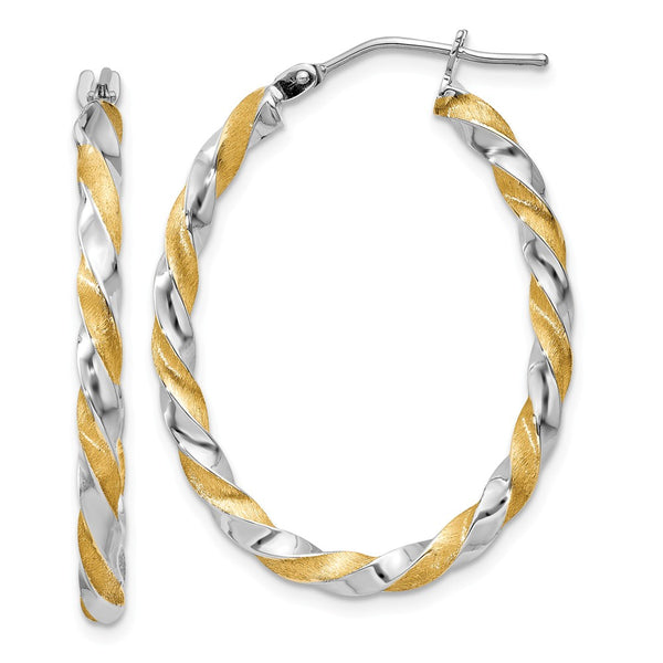 14k & Rhodium Twisted Hoop Earrings