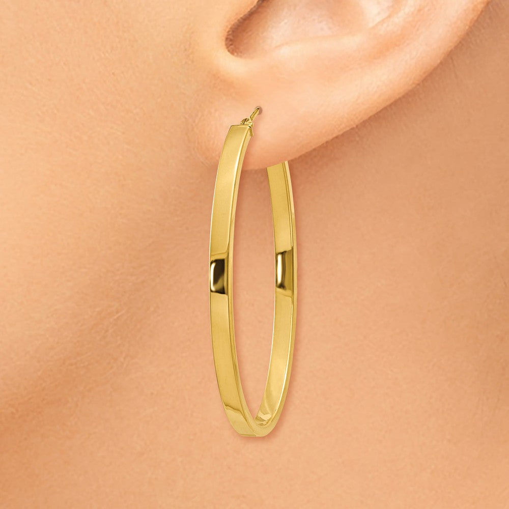 14ky Polished Oval Hoop Earrings