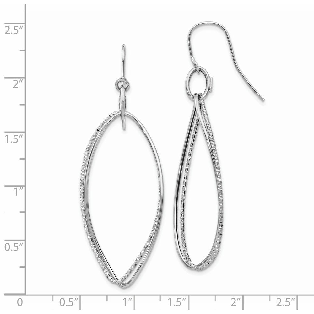 14K White Gold Twist Dangle Shepherd Hook Earrings
