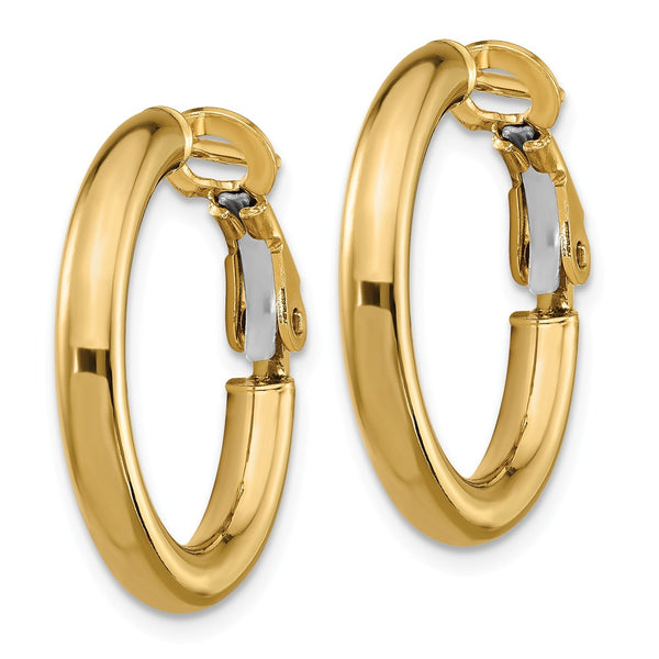 14k  3x15mm Polished Round Hoop Earrings