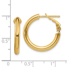 Load image into Gallery viewer, 14k  3x15mm Polished Round Hoop Earrings