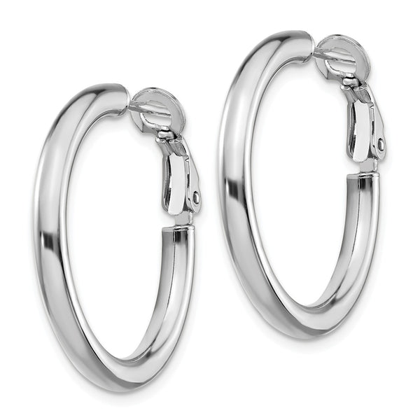 14k White Gold 3x20mm Polished Round Hoop Earrings