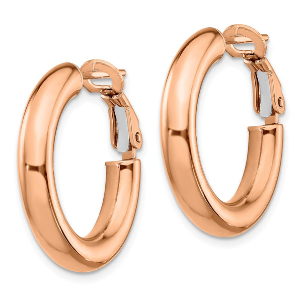 14k Rose Gold 4x15mm Polished Round Hoop Earrings