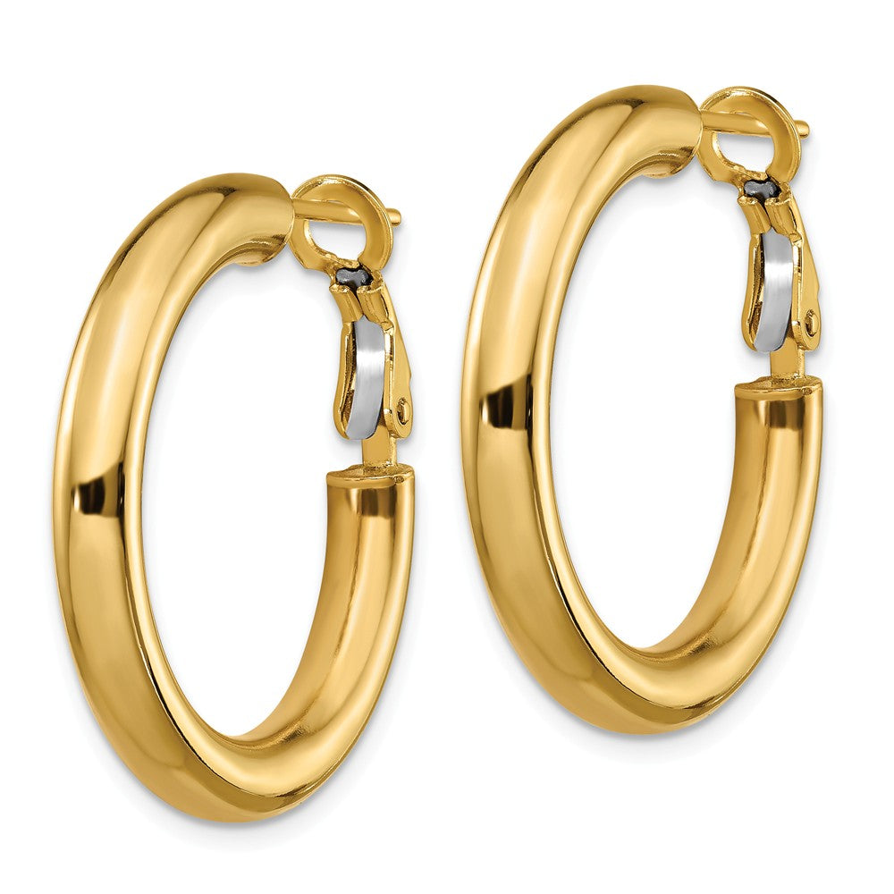 14k  4x20mm Polished Round Hoop Earrings