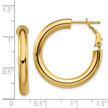 Load image into Gallery viewer, 14k  4x20mm Polished Round Hoop Earrings
