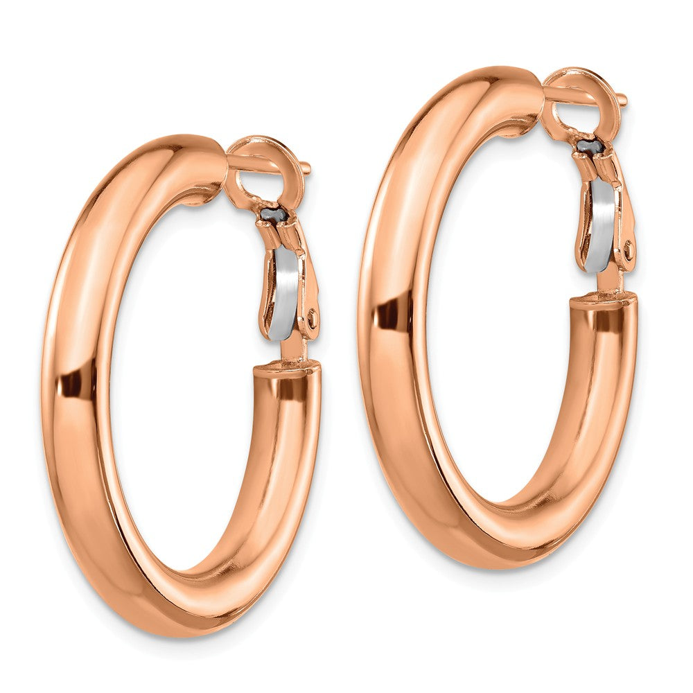 14k Rose Gold 4x20mm Polished Round Hoop Earrings