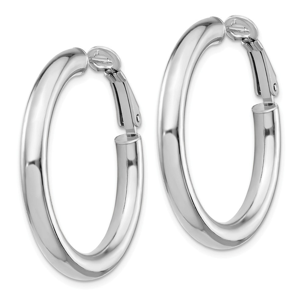 14k White Gold 4x25mm Polished Round Hoop Earrings