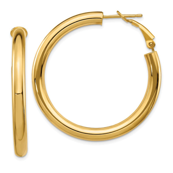 14k  4x30mm Polished Round Hoop Earrings