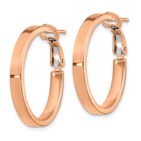 14k Rose Gold 3x20mm Polished Square Tube Round Hoop Earrings