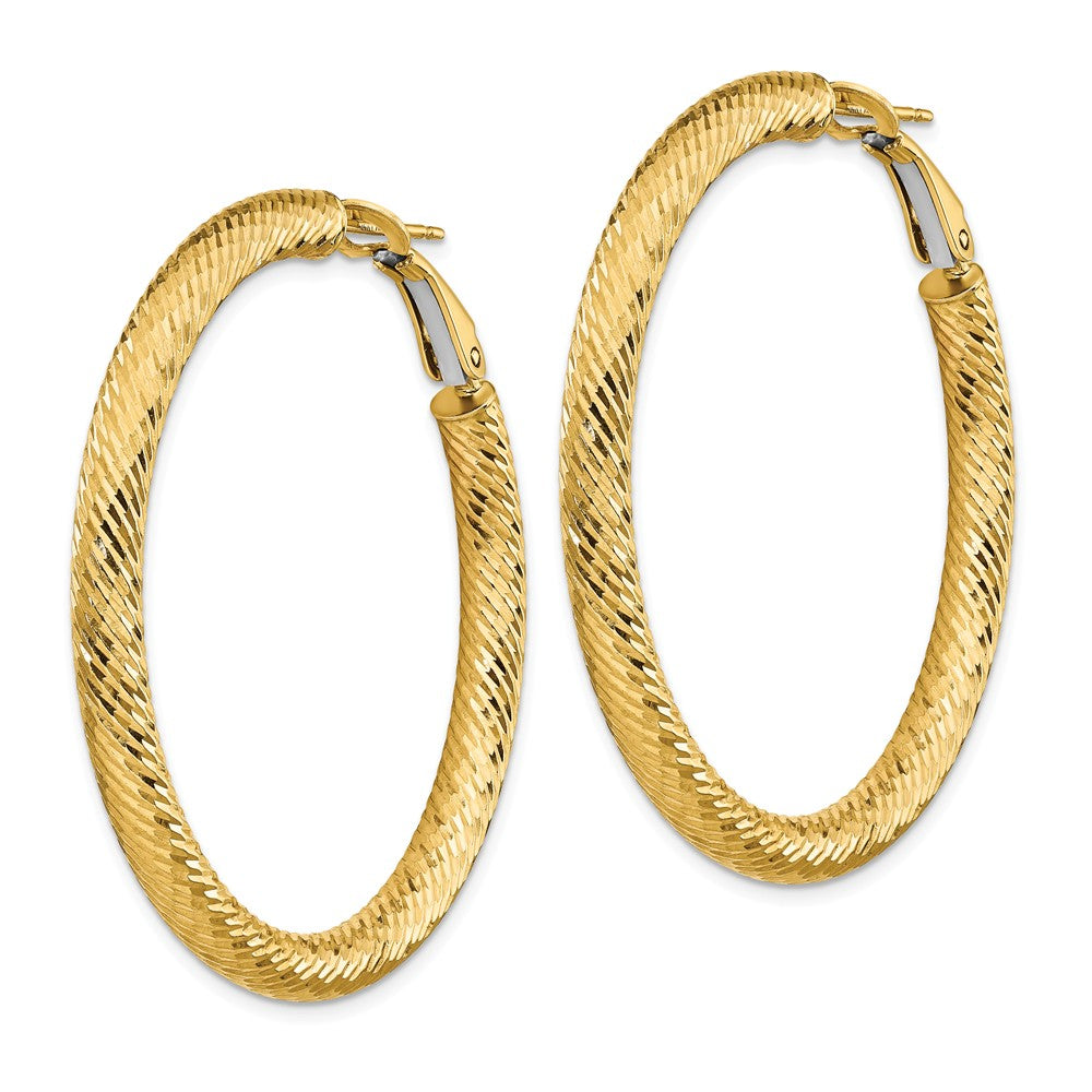 14k 4x35 Diamond-cut Round Omega Back Hoop Earrings