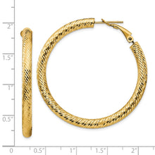 Load image into Gallery viewer, 14k 4x35 Diamond-cut Round Omega Back Hoop Earrings