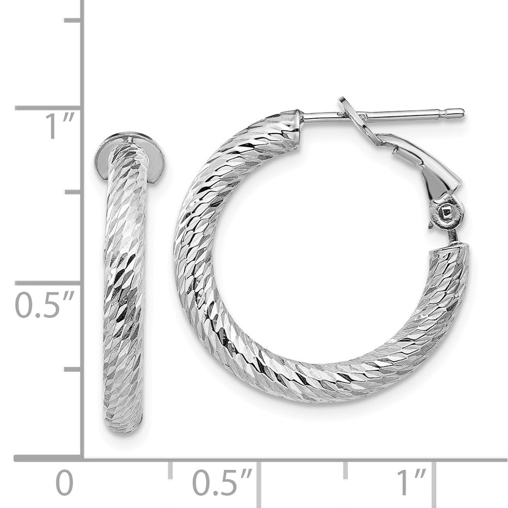 14k 3x15 White Gold Diamond-cut Round Omega Back Hoop Earrings