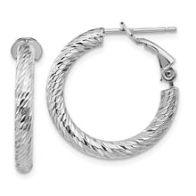 Load image into Gallery viewer, 14k 3x15 White Gold Diamond-cut Round Omega Back Hoop Earrings