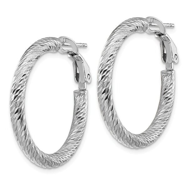 14k 3x20 White Gold Diamond-cut Round Omega Back Hoop Earrings