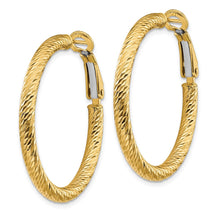 Load image into Gallery viewer, 14k 3x25 Diamond-cut Round Omega Back Hoop Earrings