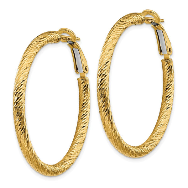 14k 3x30 Diamond-cut Round Omega Back Hoop Earrings