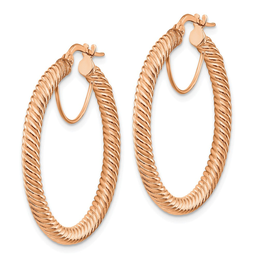 14k 3x25 Rose GoldTwisted Round Hoop Earrings