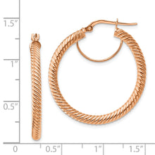 Load image into Gallery viewer, 14k 3x25 Rose GoldTwisted Round Hoop Earrings