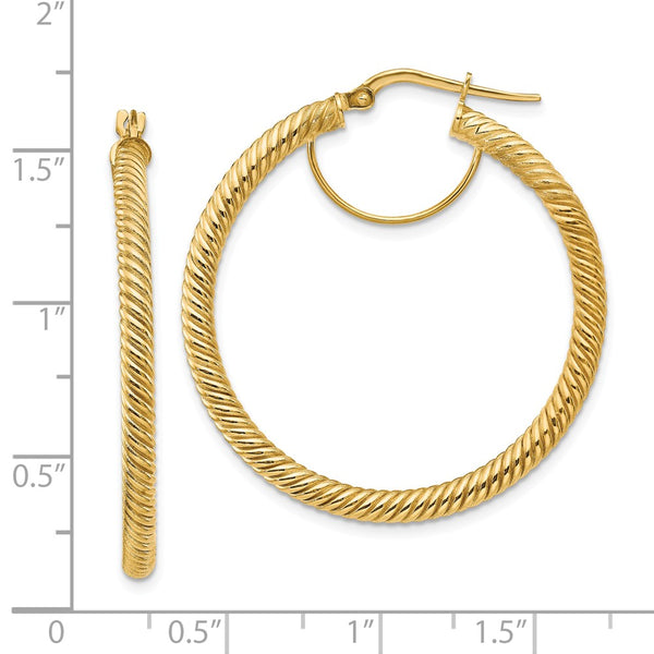 14k 3x30 Twisted Round Hoop Earrings