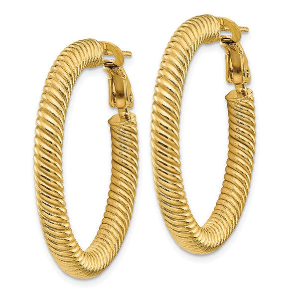 14k 4x25 Twisted Round Omega Back Hoop Earrings