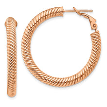 Load image into Gallery viewer, 14k 4x25 Rose GoldTwisted Round Omega Back Hoop Earrings