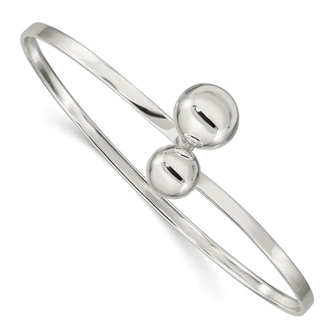 Sterling Silver Twisted Ball Catch Bangle