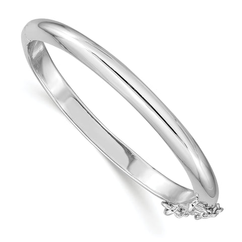 Plated Polished Cuff Childs Bangle Sterling Silver Rhod