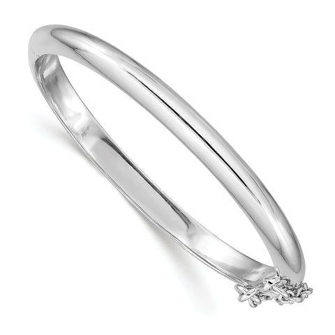 Sterling Silver Rhod. Plated Pol. WithSafety Hinged Child's Bangle