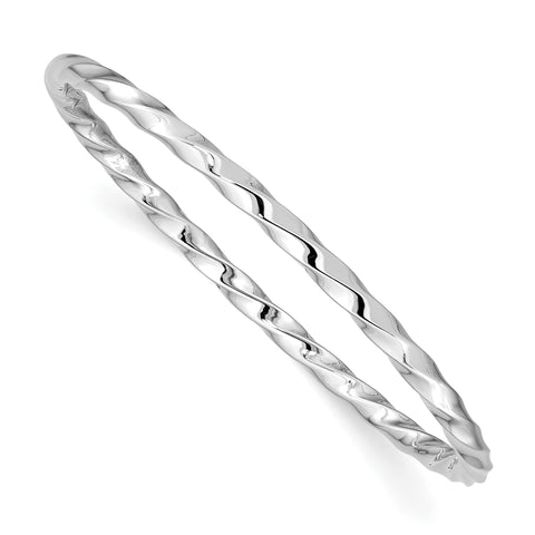 Sterling Silver Rhod. Plated Pol. Twisted Slip-on Child's Bangle