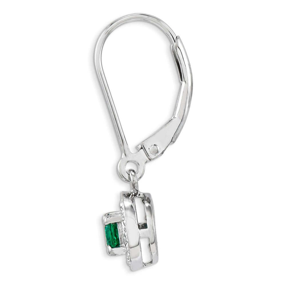 Sterling Silver Rhodium-plated Diam. & Created Emerald Earrings