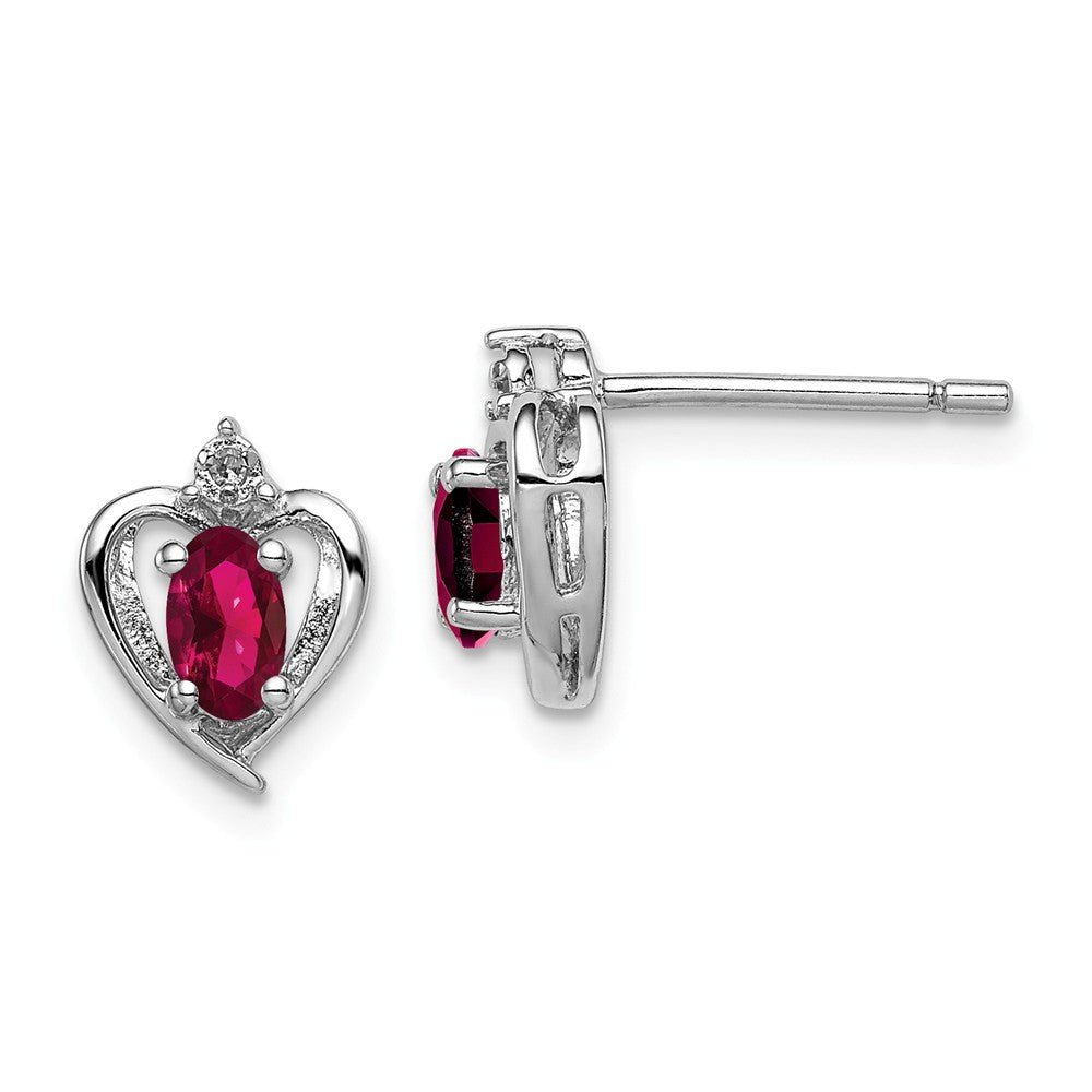 Sterling Silver Rhodium-plated Created Ruby & Diam. Earrings