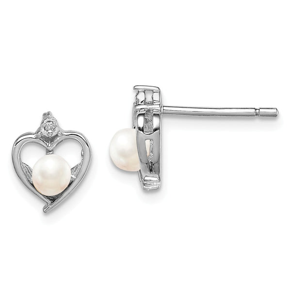 Sterling Silver Rhodium-plated FW Cultured Pearl & Diam. Earrings