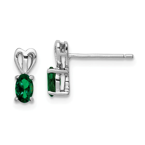 Sterling Silver Rhodium-plated Created Emerald Earrings