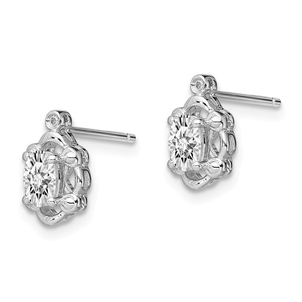 Sterling Silver Rhodium-plated White Topaz & Diam. Earrings