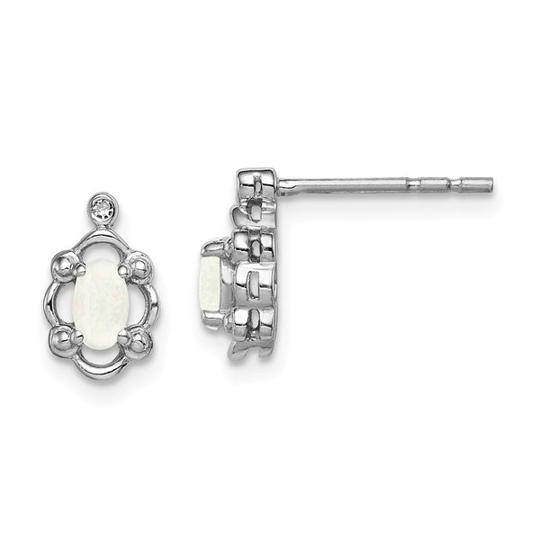 Sterling Silver Rhodium-plated Created Opal & Diam. Earrings