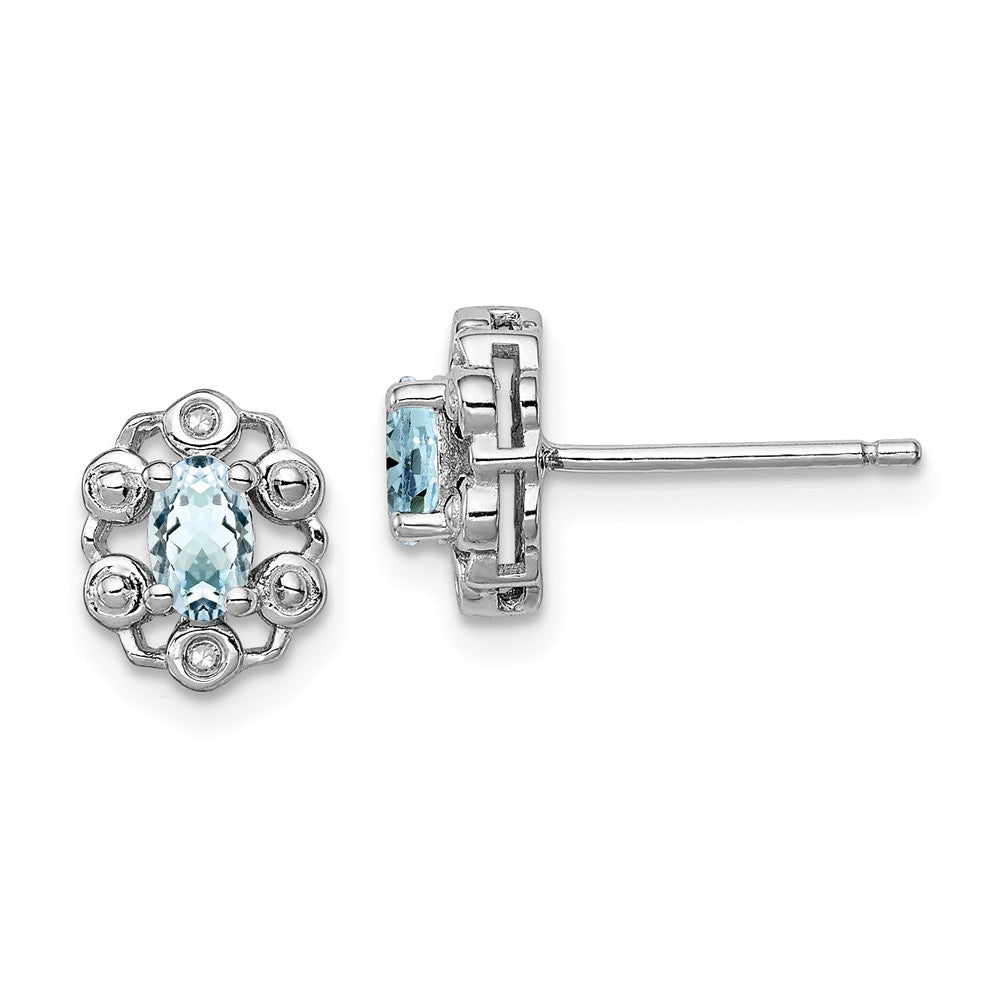 Sterling Silver Aquamarine & Diamond Earrings