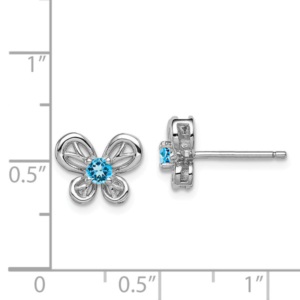 Sterling Silver Rhodium-plated Light Swiss Blue Topaz Earrings