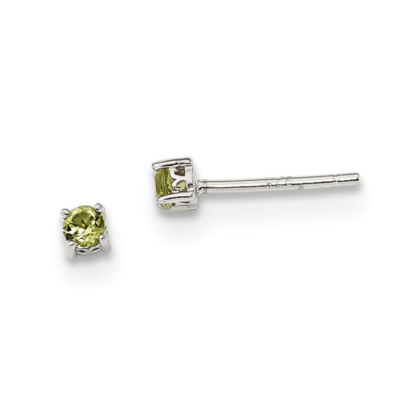 Sterling Silver 3mm Round Peridot Post Earrings