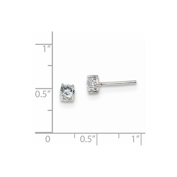Sterling Silver Rhodium-plated 4mm Round Aquamarine Post Earrings