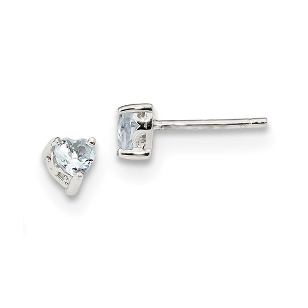 Sterling Silver 4mm Heart Aquamarine Post Earrings