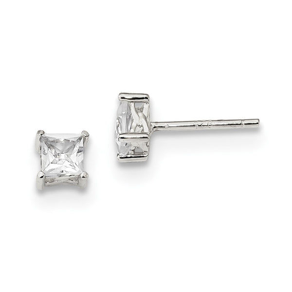 Sterling Silver 4mm Princess White Topaz Post Earrings