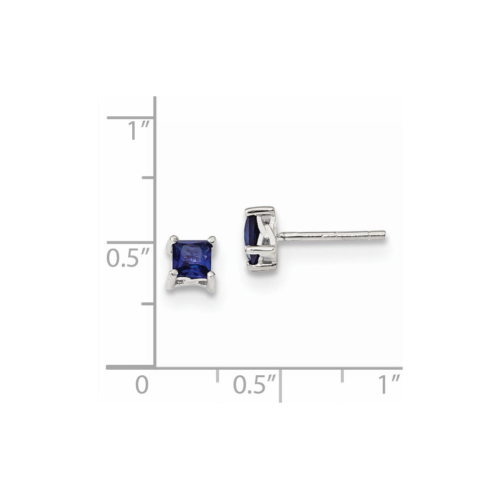 Sterling Silver 4mm Princess Created Sapphire Post Earrings