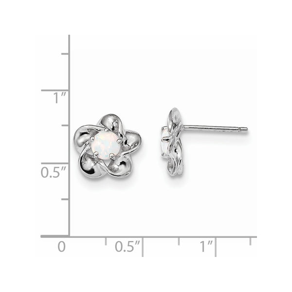 Sterling Silver Rhodium-plated Floral Created Opal Post Earrings