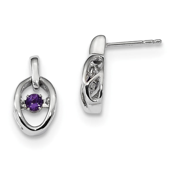 Sterling Silver Rhodium Amethyst Birthstone Vibrant Earrings