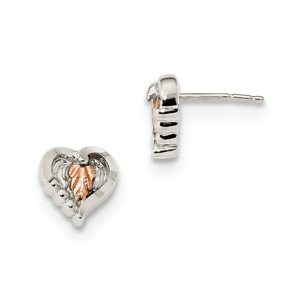 Sterling Silver & 12k Accents Heart Post Earrings