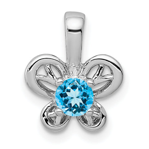 Sterling Silver Rhodium-plated Light Swiss Blue Topaz Pendant