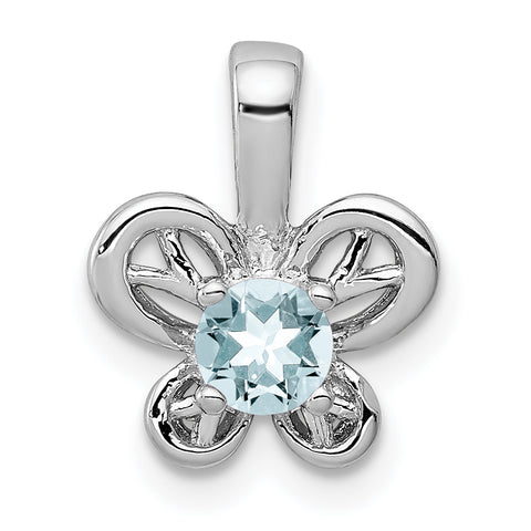 Sterling Silver Rhodium-plated Aquamarine Pendant